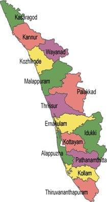 Map of Kerala State